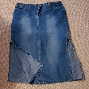Long denim skirt with side slits